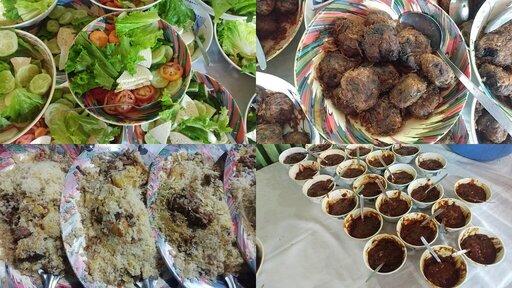 Beef Kachhi Salad Aloo Bukhara Chutney Water